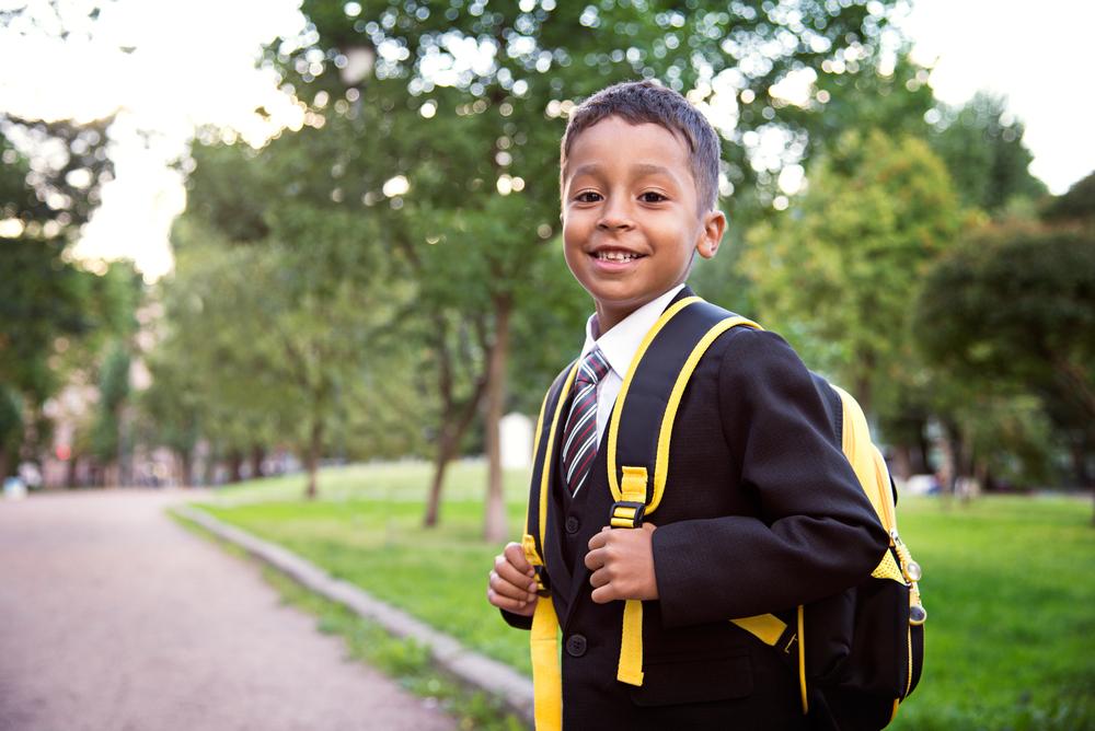 Boy starting school
